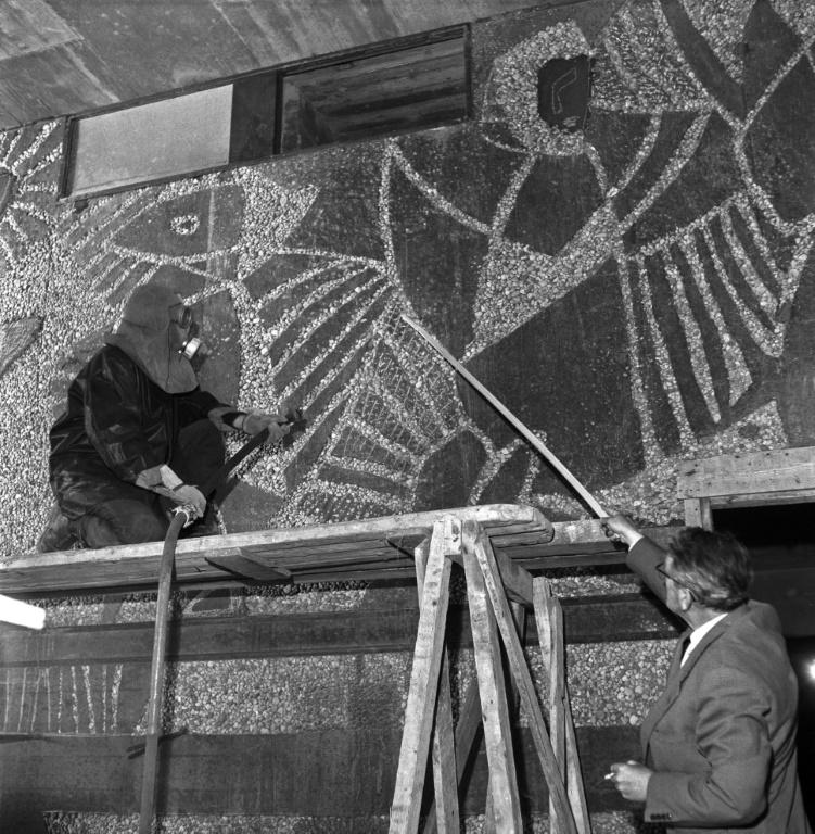 Norwegian artist Carl Nesjar sandblasted the Pablo Picasso works into the concrete during the construction of the government building in Oslo, Norway in June 1958