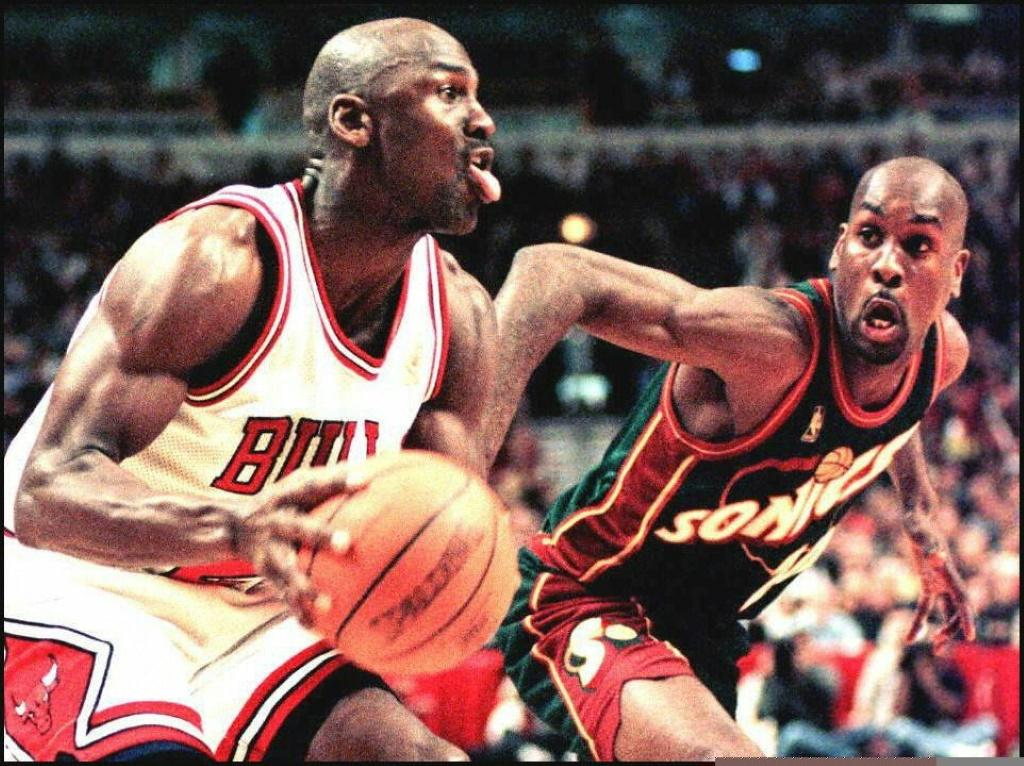 Michael Jordan during a game between Chicago and Seattle in March 1997
