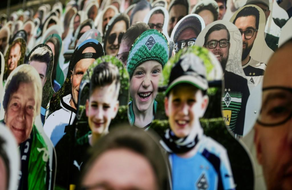 Life-sized images of fans have been placed at Borussia Moenchegladbach's stadium