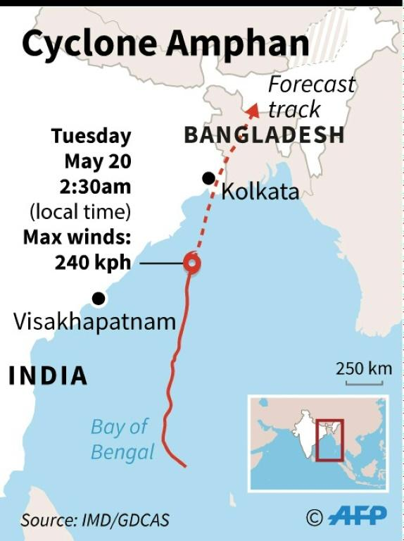 Map showing the forecast path of Cyclone Amphan as it heads across the Bay of Bengal on Wednesday.
