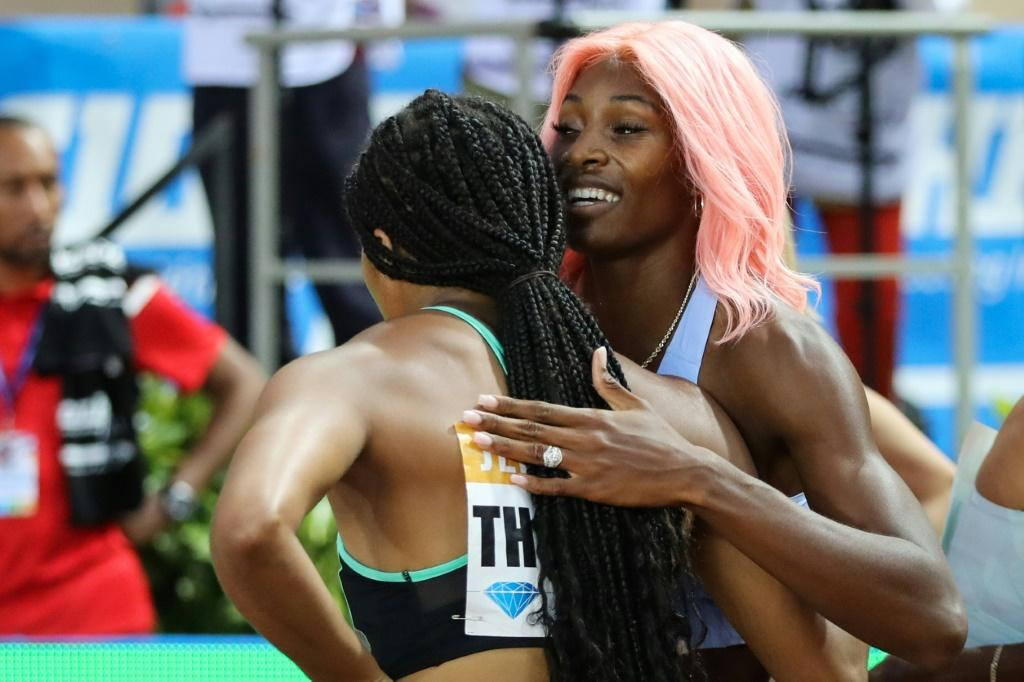 Social distancing: Monaco hopes to hold a 'traditional' meeting but perhaps some things will change, last year winner Shaunae Miller-Uibo, with the pink hair, hugged Elaine Thompson after the women's 200m