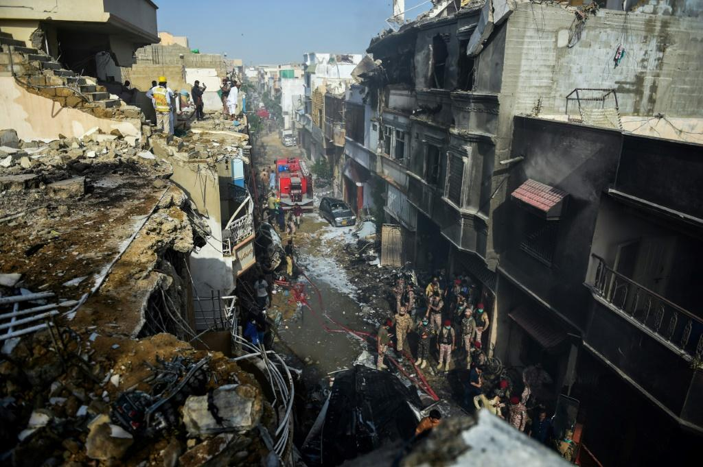 The PIa plane was close to landing when it came down among houses, sparking an explosion and killing several people on the ground