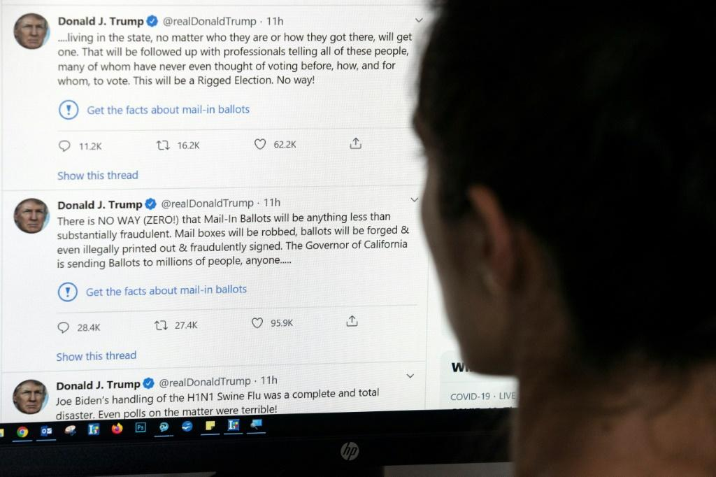"""Twitter targeted two tweets the president posted on Tuesday in which he contended without evidence that mail-in voting would lead to fraud and a """"Rigged Election"""