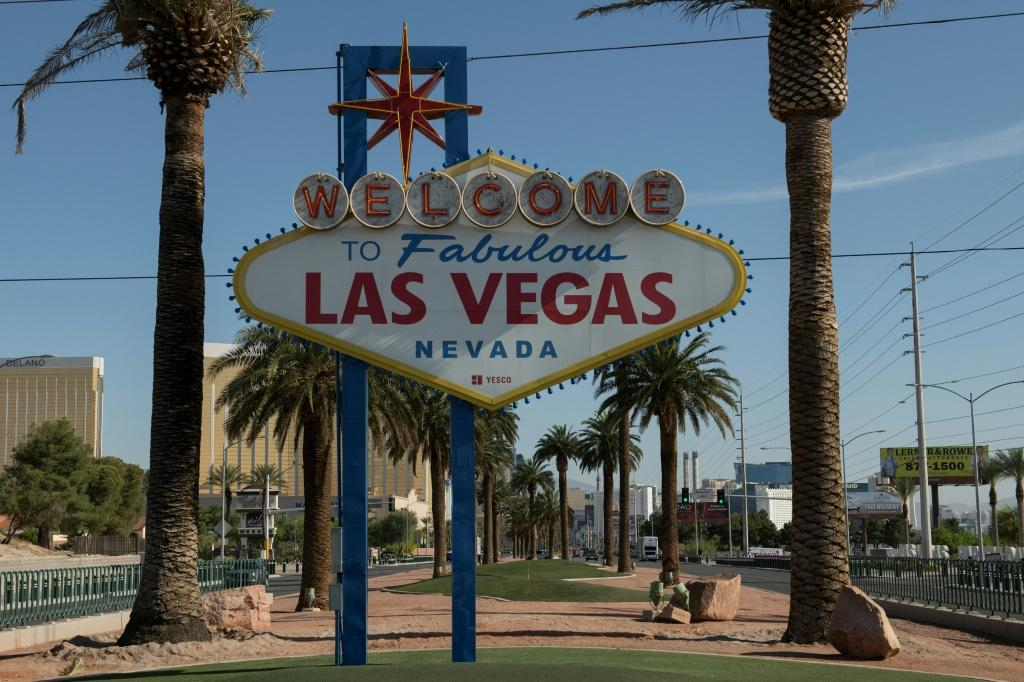 """The """"Welcome to Las Vegas"""" sign is seen on a quiet Las Vegas Strip amid the novel coronavirus pandemic on May 8, 2020 in Las Vegas, Nevada."""