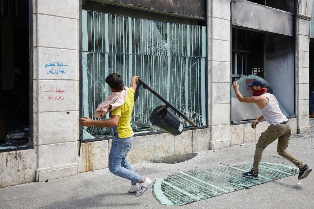 Lebanese protesters have attacked banks during demonstrations against perceived government mismanagement and corruption
