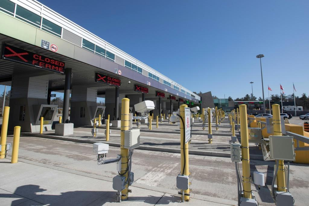 Closed gates are seen in Lansdowne, Ontario at the US-Canada border in March 2020