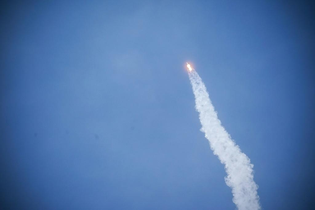 A SpaceX Falcon 9 rocket carrying the Crew Dragon spacecraft takes off from launch complex 39A at the Kennedy Space Center in Florida on May 30, 2020