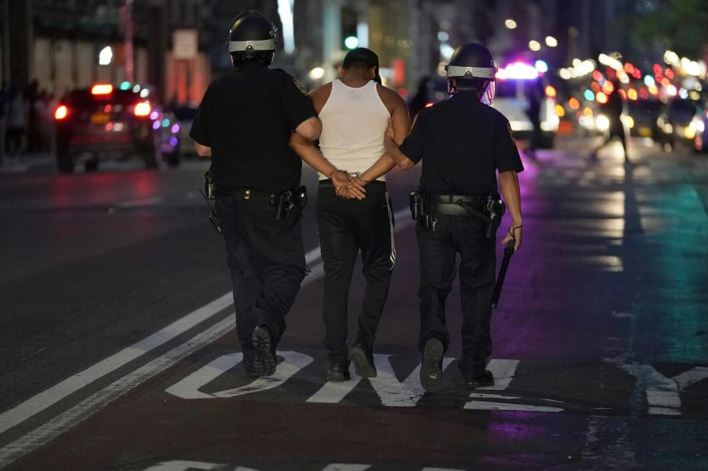 New York police said they had arrested 'hundreds' across the city