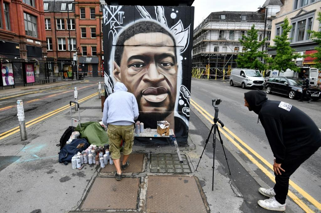 In Manchester, England, street artist Akse has put up a mural of George Floyd, the unarmed black man who died after a US police officer knelt on his neck during an arrest