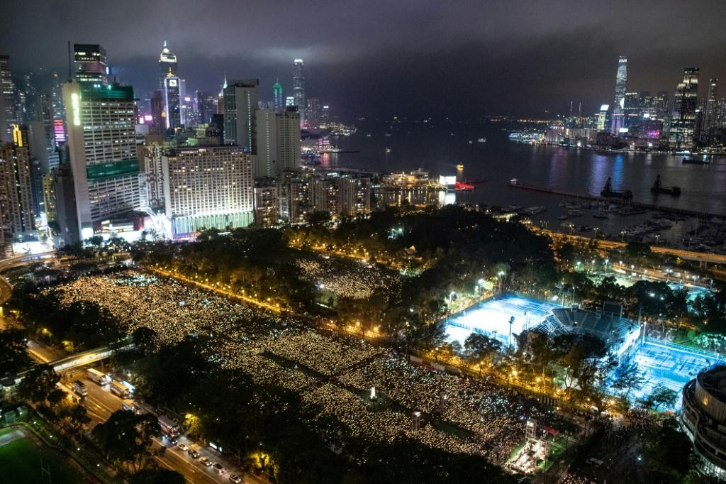 People in 2019 attend a candlelight vigil at Victoria Park in Hong Kong to mark the Tiananmen crackdown anniversary