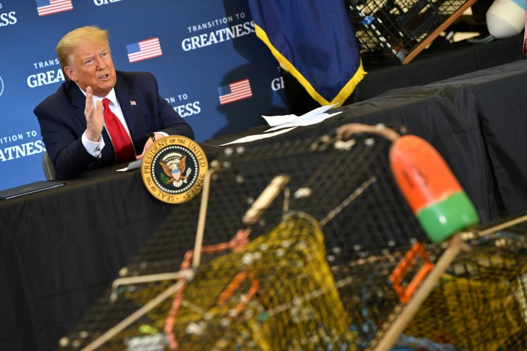 US President Donald Trump meets with fishing industry leaders in Bangor, Maine