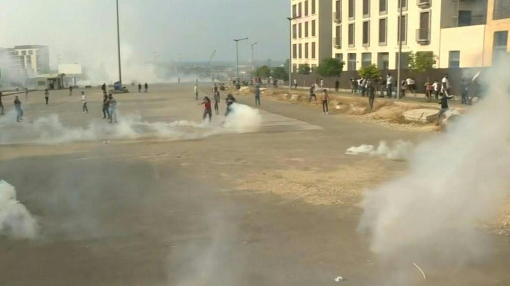 IMAGESLebanese security forces fire tear gas towards protesters during demonstrations in central capital Beirut.