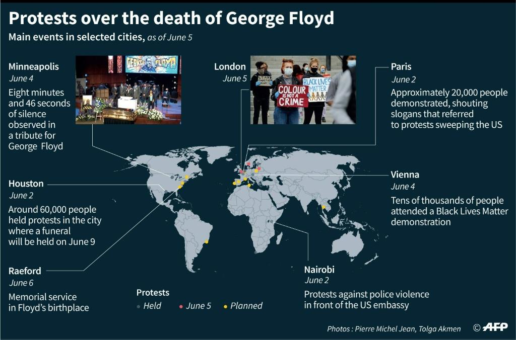 Main protests over the death of George Floyd in selected cities worldwide, as of June 5