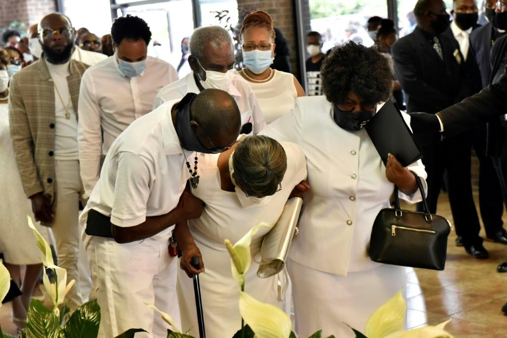 Mourners pay their respects to George Floyd in Raeford, North Carolina, on June 6, 2020