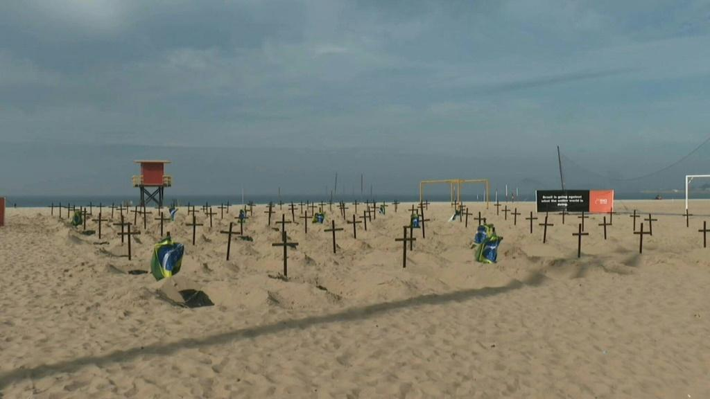 Graves dug on Rio's beach to protest against govt handling of pandemic