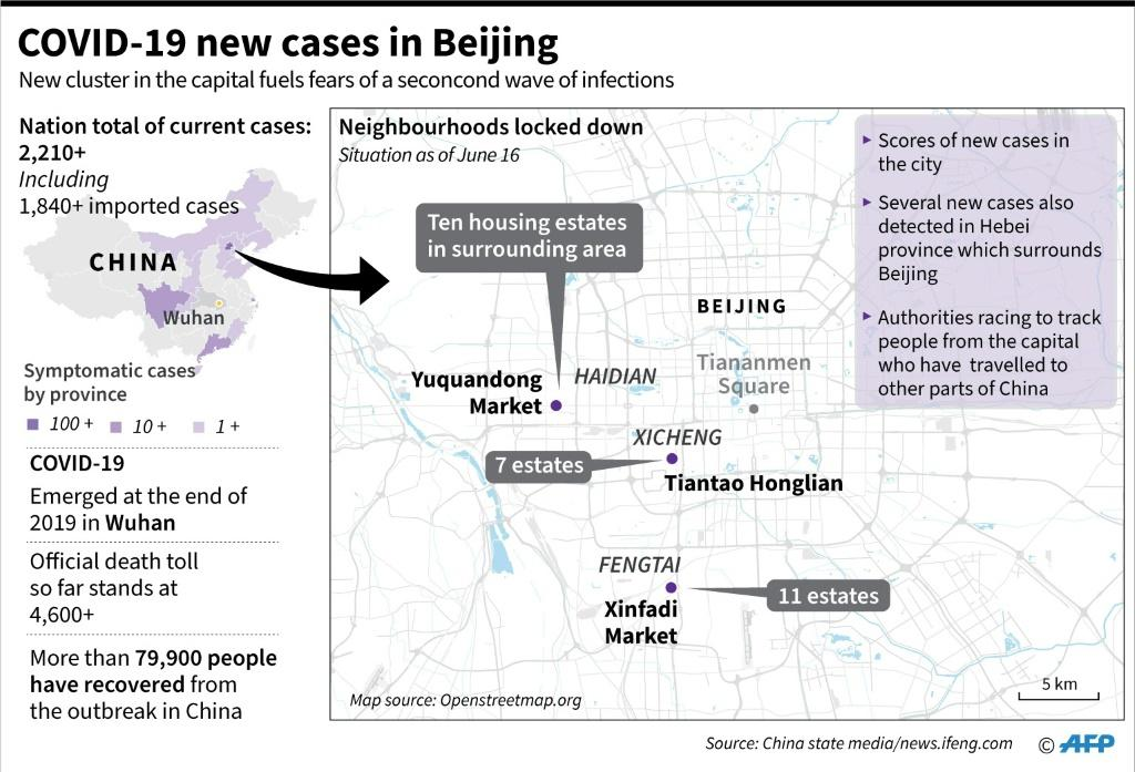 Map showing the districts affected in the latest flare up of COVID-19 cases in Beijing.