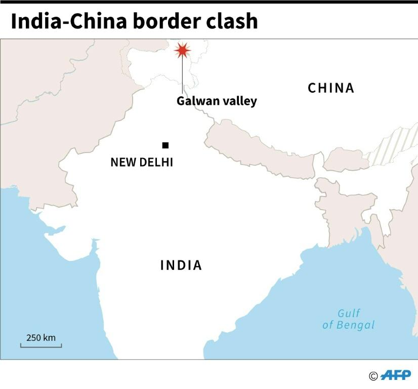 Map showing the Galwan valley on the border of India and China where a clash between soldiers has been reported Tuesday
