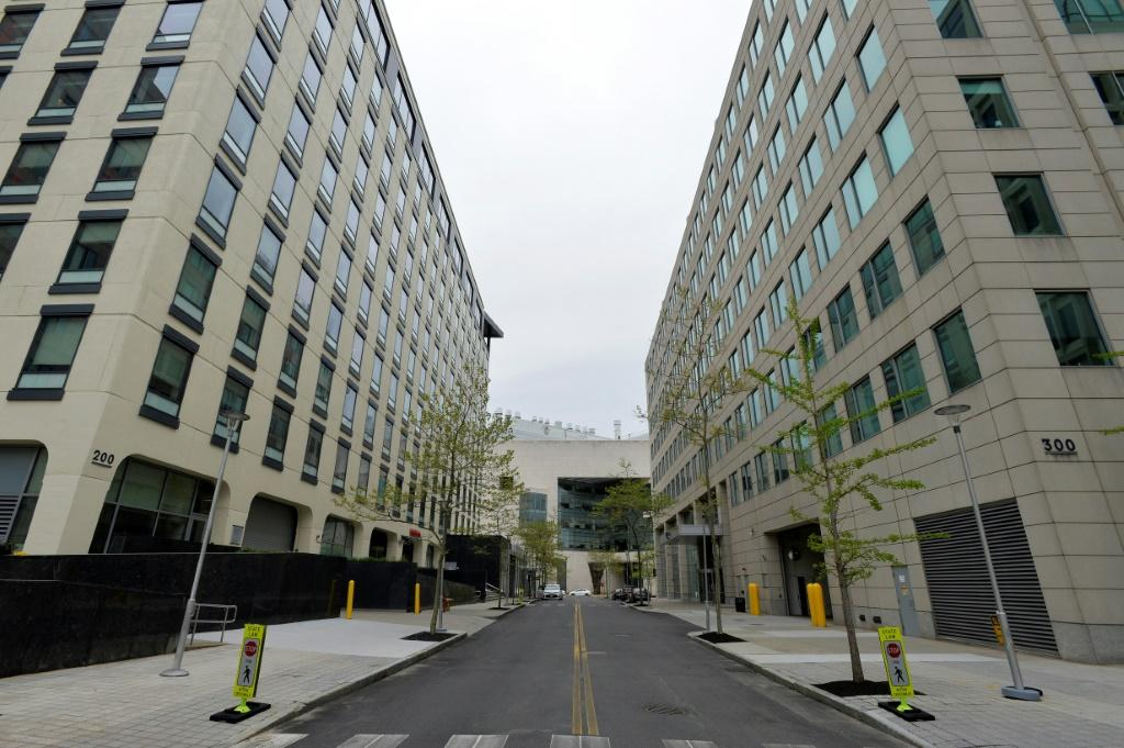 Moderna, whose headquarters are seen here in Cambridge, Massachusetts, is 'temporarily ahead' in the vaccine race, Fauci said