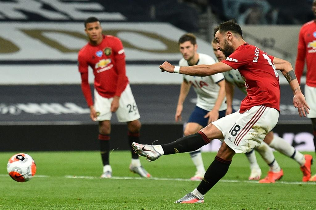 Spot on: Bruno Fernandes scored Manchester United's equaliser