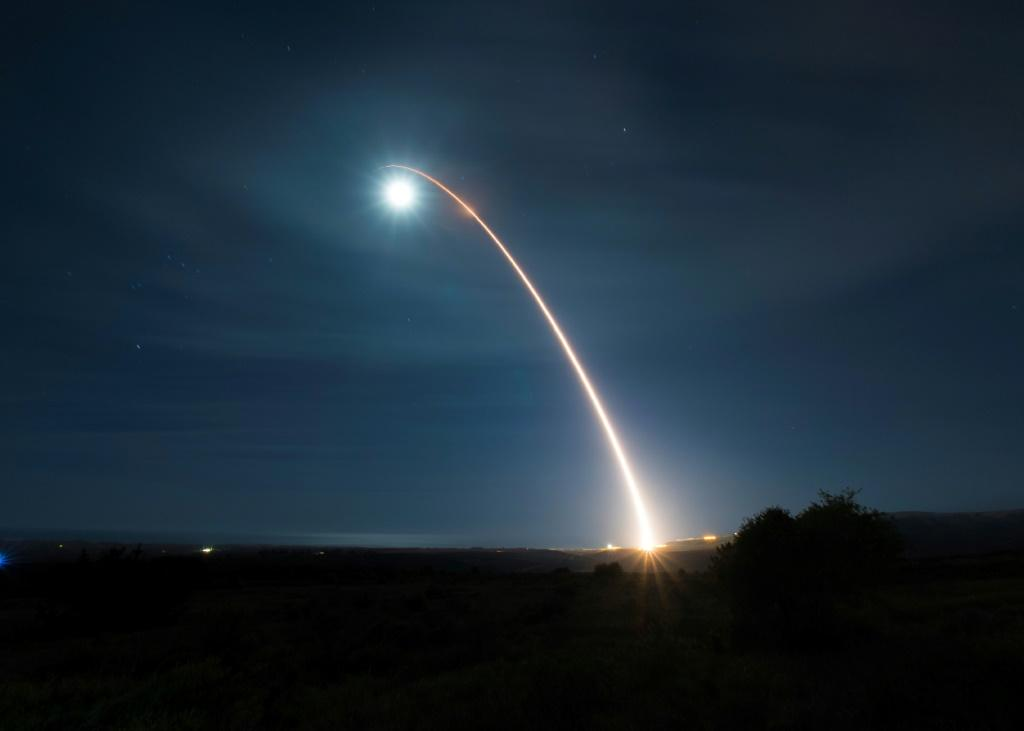 The US Air Force tests an unarmed Minuteman III intercontinental ballistic missile in February 2020 at Vandenberg Air Force Base in California -- Washington is set to open nuclear talks with Russia