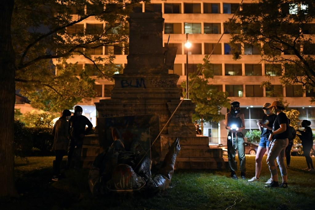 The Washington statue of Confederate general Albert Pike was toppled by protesters Friday night