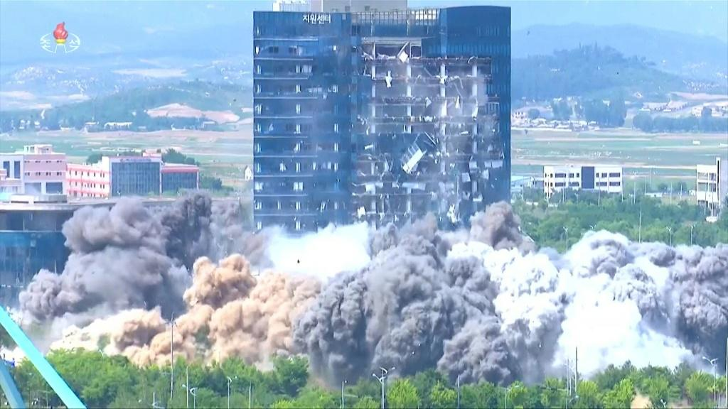 North Korean state TV releases images of the destruction of the inter-Korean liaison office in Kaesong