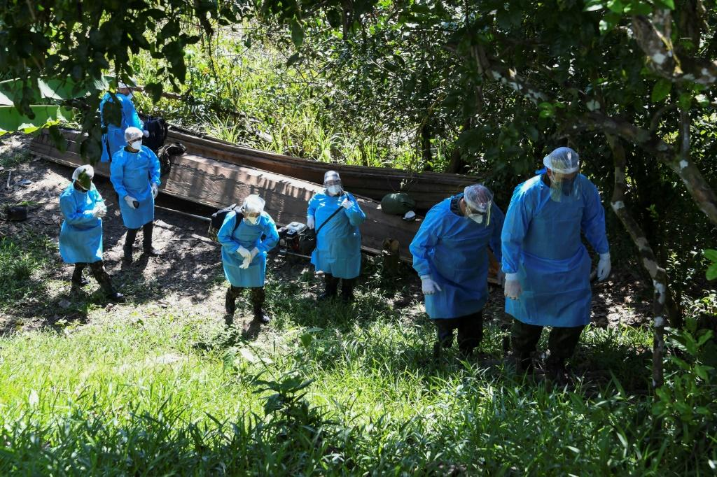 The medical team of the Brazilian Armed Forces arrives at the Cruzeirinho village, near Palmeiras do Javari, Amazonas state, northern Brazil, to assist indigenous population amid the COVID-19 pandemic