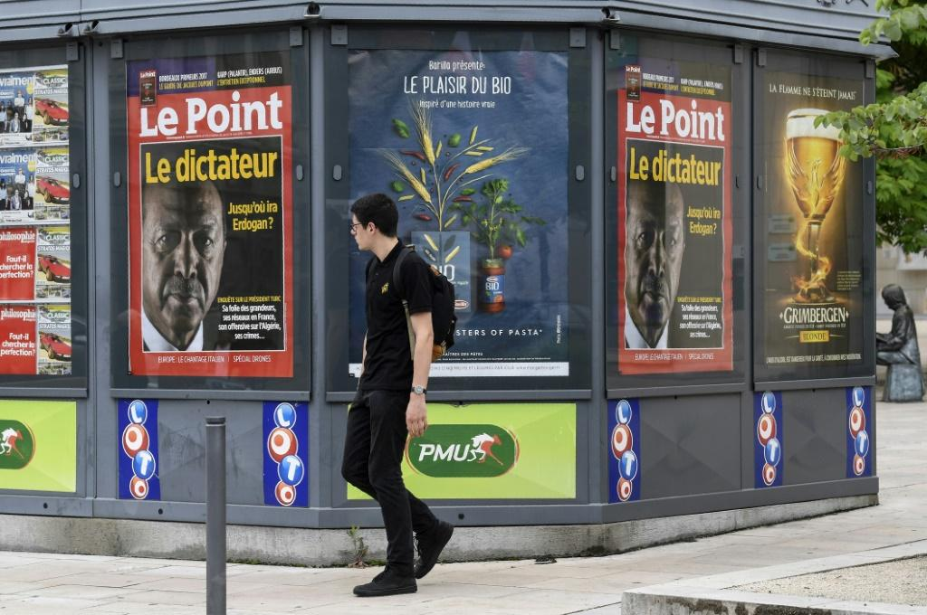 A 2018 picture shows a newsstand in France, where authorities have ordered Google to negotiate payments to media to comply with a European copyright directive