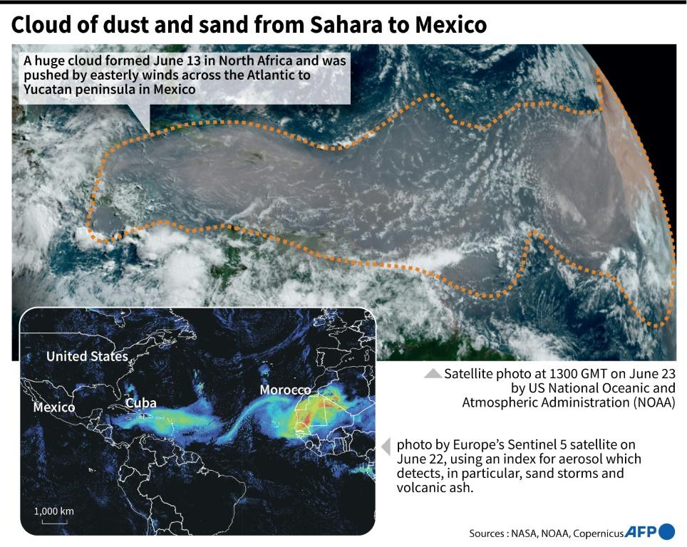 Satellite images of a massive cloud of dust and sand pushed by the wind from North Africa to Mexico.