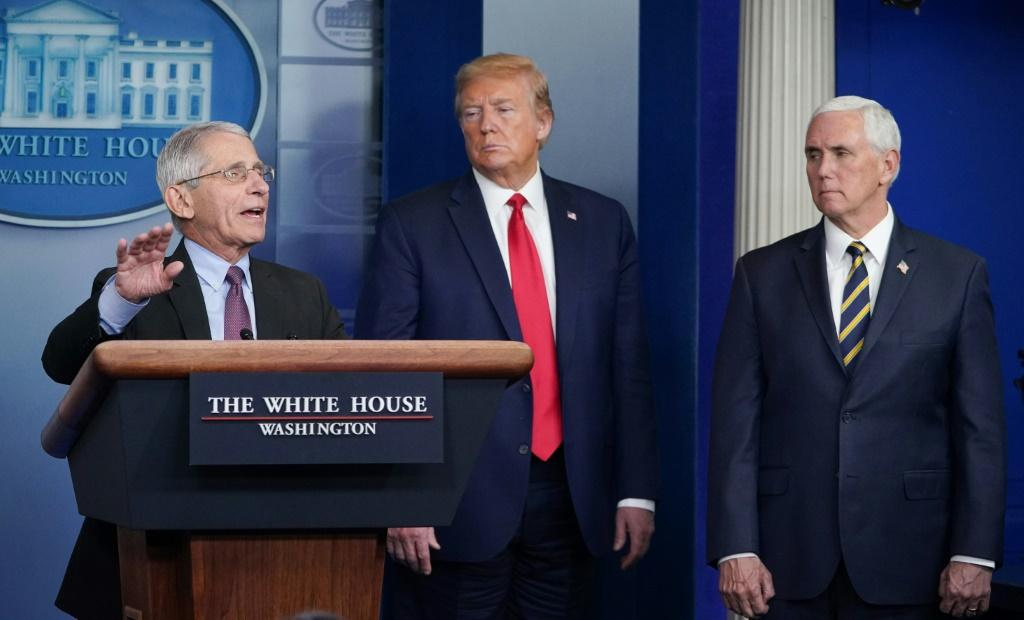 Director of the National Institute of Allergy and Infectious Diseases Anthony Fauci, flanked by US President Donald Trump and US Vice President Mike Pence, speaks during a task force briefing in late April