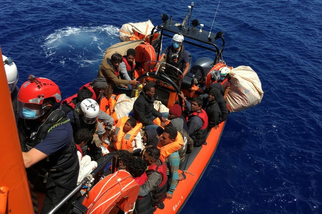 The migrants were rescued by the Ocean Viking near the Italian island of Lampedusa
