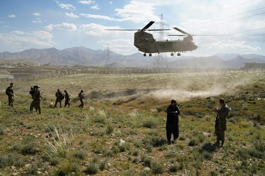 A US military Chinook helicopter seen in June 2019 in Afghanistan, where reports say Russia has offered bounties to target US-led forces