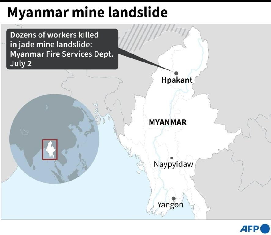 Map of Myanmar locating the site of a jade mine landslide where dozens of workers have been killed, according the the fire services department on Thursday.