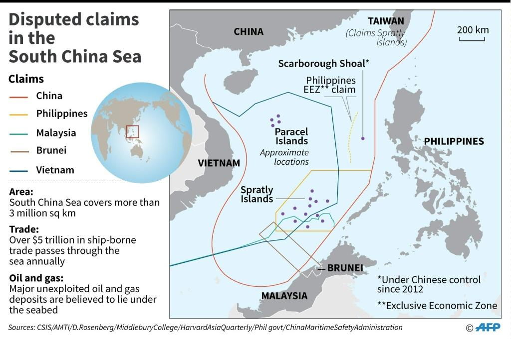 Map showing disputed claims in the South China Sea.
