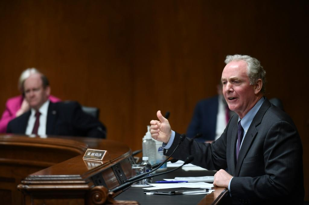 Senator Chris Van Hollen, seen here in a June 2020 hearing, has helped lead efforts on Hong Kong in the US Congress
