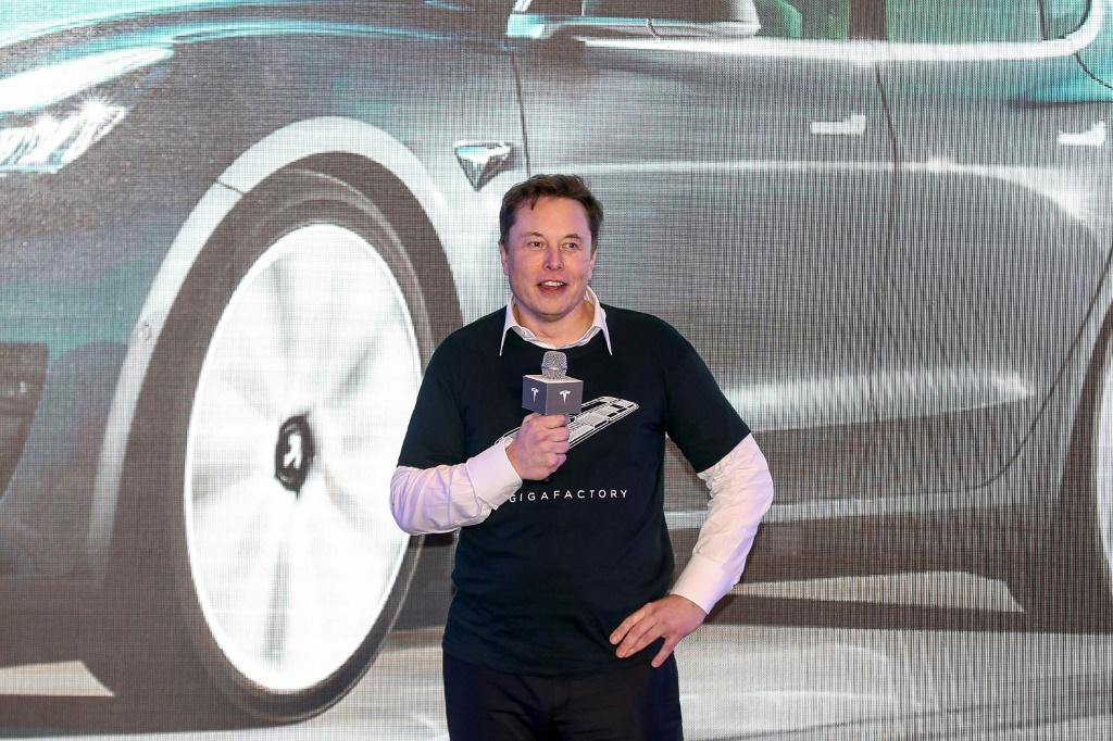 Tesla CEO Elon Musk, seen in January, appeared to be gloating on Twitter as the electric carmaker saw a jump in its stock to make it the world's most valuable auto firm
