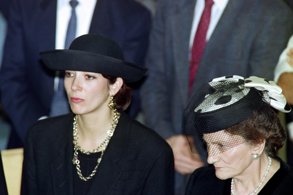 Ghislaine Maxwell with her mother Elisabeth at Robert Maxwell's funeral (R) attend the funeral serice before he was buried on the Mount of Olives, east of Jerusalem's Old City