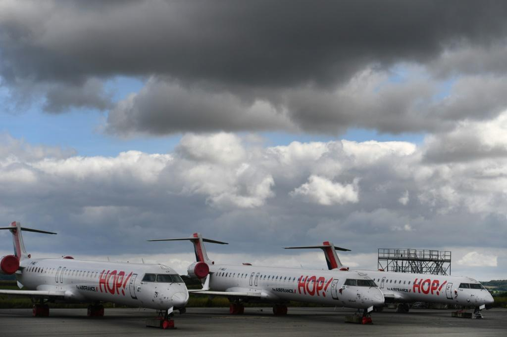 Hop! aircraft are pictured on the tarmac on July 3, 2020 at the Morlaix, France airport
