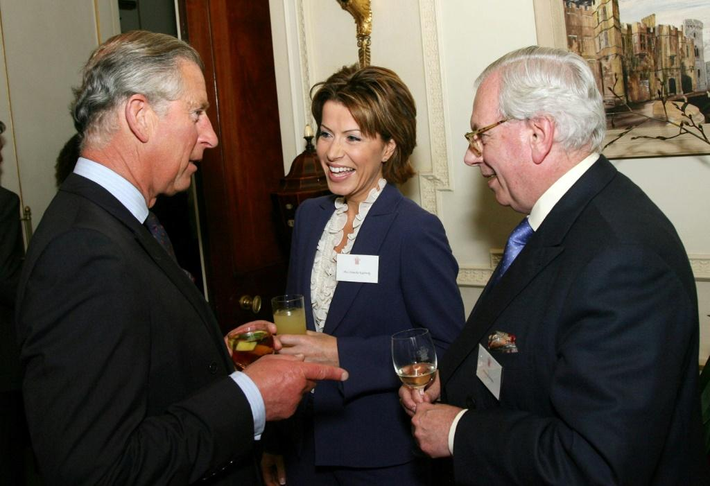 David Starkey (R) seen here in 2007 with Britain's Prince Charles, Prince of Wales, has resigned from his position at Cambridge University