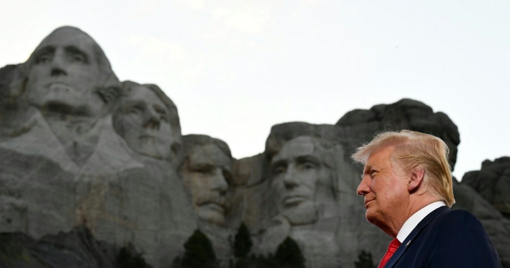 US President Donald Trump arrives for the Independence Day events at Mount Rushmore in Keystone, South Dakota, July 3, 2020
