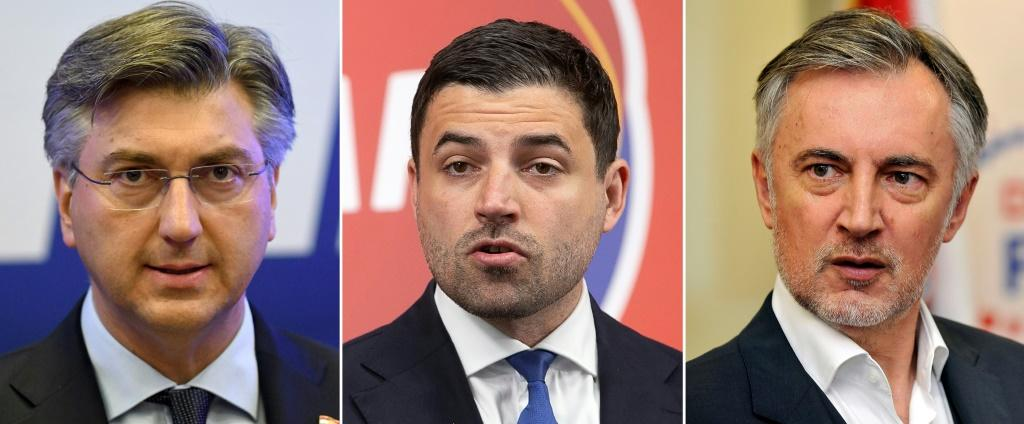 Croatian Prime Minister Andrej Plenkovic (left) is competing with opposition leader Davor Bernardic (centre)and folk singer Miroslav Skoro (right) who heads a right-wing party