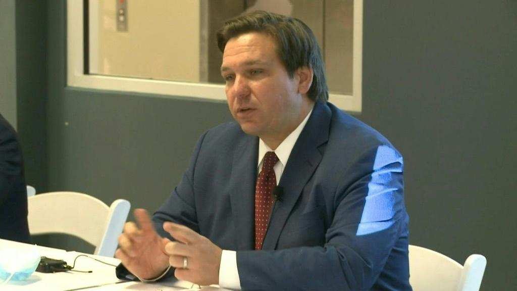 """SOUNDBITEFlorida Governor Ron DeSantis says the state will send 100 health workers to Jackson Memorial Hospital in Miami to help the facility as it battles the coronavirus pandemic. """"I think that that'll be something that'll be very useful for them as"""
