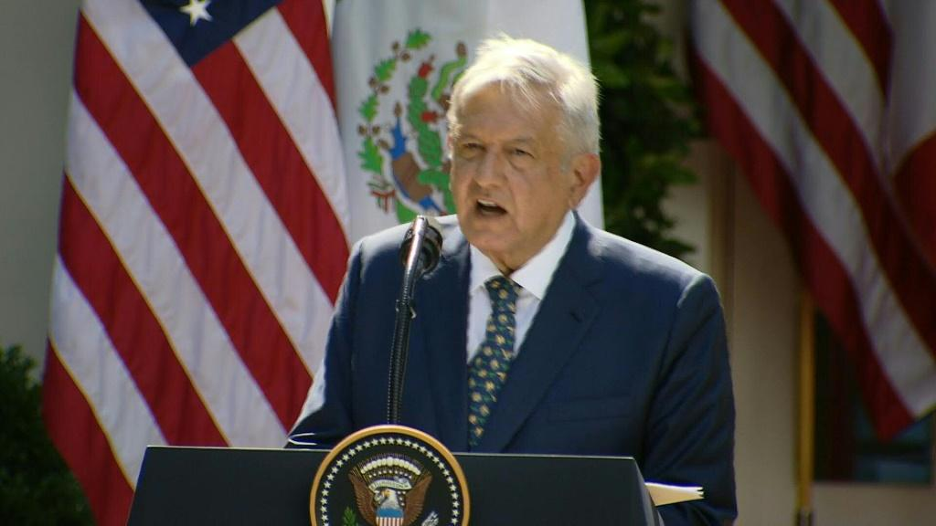 SOUNDBITEMexico's President, Andres Manuel Lopez Obrador, speaking at a Rose Garden event at the White House, thanks US President Donald Trump for not trying to treat Mexico