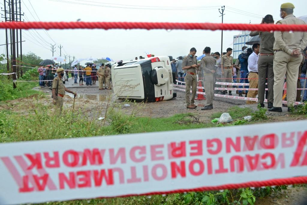 Police said the car carrying Dubey overturned on a wet road and he tried to escape