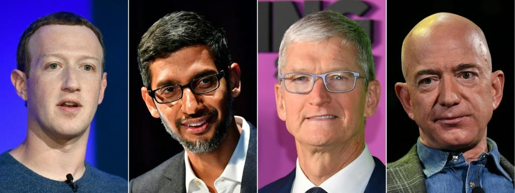 Big tech CEOs (L-R) Mark Zuckerberg of Facebook, Sundar Pichai of Google, Tim Cook of Apple and Jeff Bezos of Amazon are scheduled to testify in Congress later this month