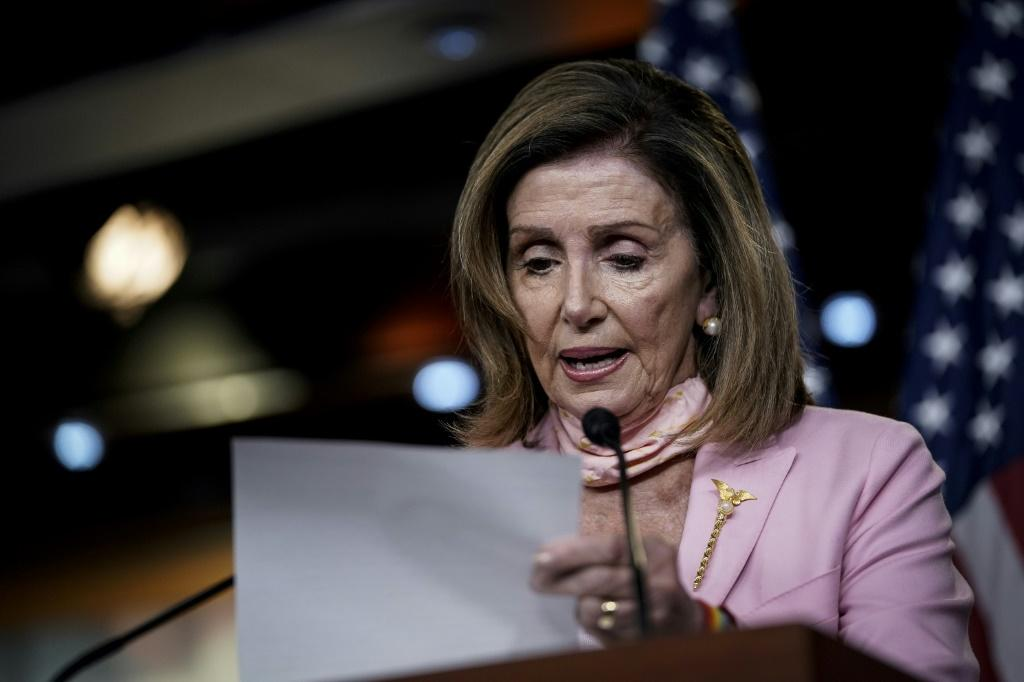 House Speaker Nancy Pelosi, seen on July 9, 2020, has denounced President Donald Trump's commutation of the jail sentence of close ally Roger Stone as 'staggering corruption'
