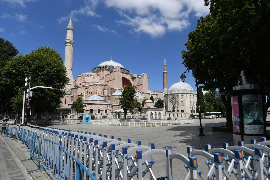 On Saturday, tourists hoping to visit the Hagia Sophia found police had put up barriers around the building