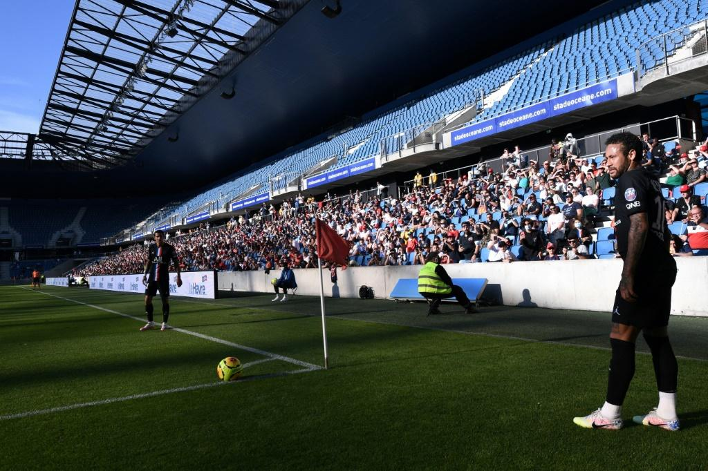 A limited number of fans got to watch PSG stars such as Neymar and Kylian Mbappe play at the Stade Oceane in Le Havre