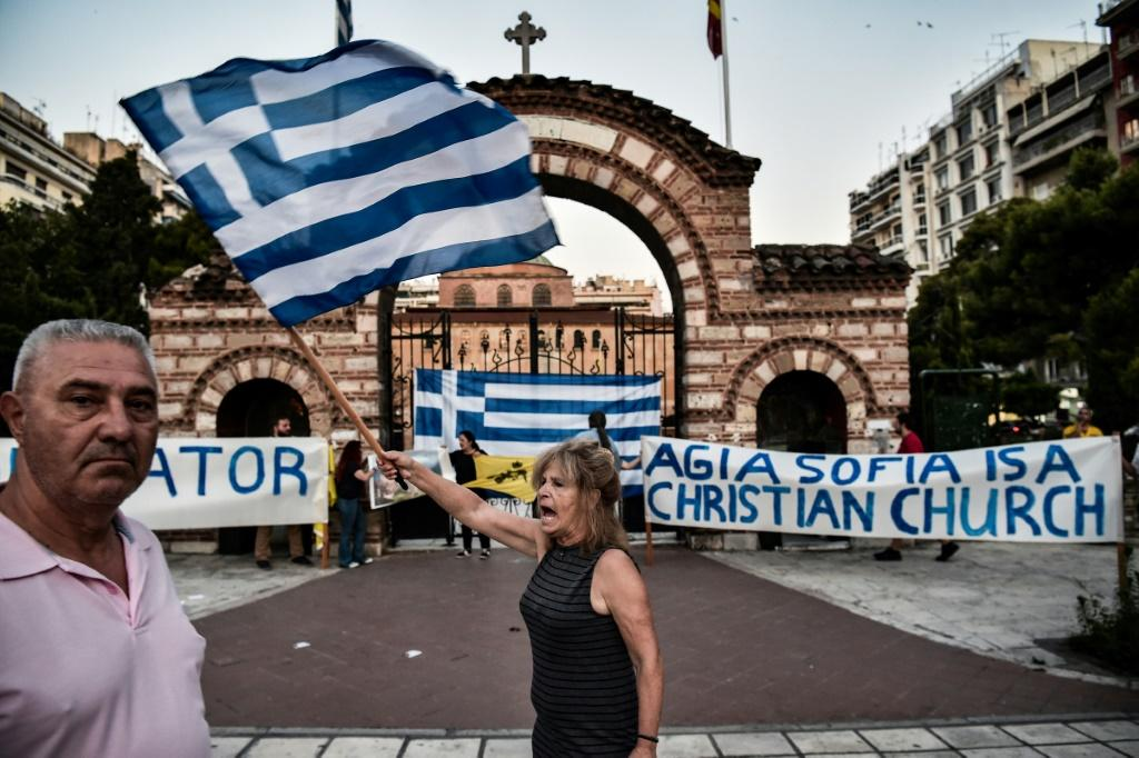 Some Greeks protested outside the Agia Sofia church of Thessaloniki, in northern Greece, when news broke of Turkey's decision