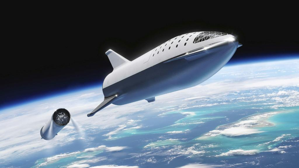 An artist's illustration of SpaceX's Starship spacecraft and Super Heavy rocket (collectively referred to as Starship) which the company says will one day carry both crew and cargo to Mars